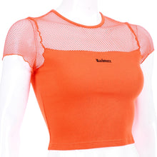 Load image into Gallery viewer, ROCKMORE Orange Mesh Crop Top