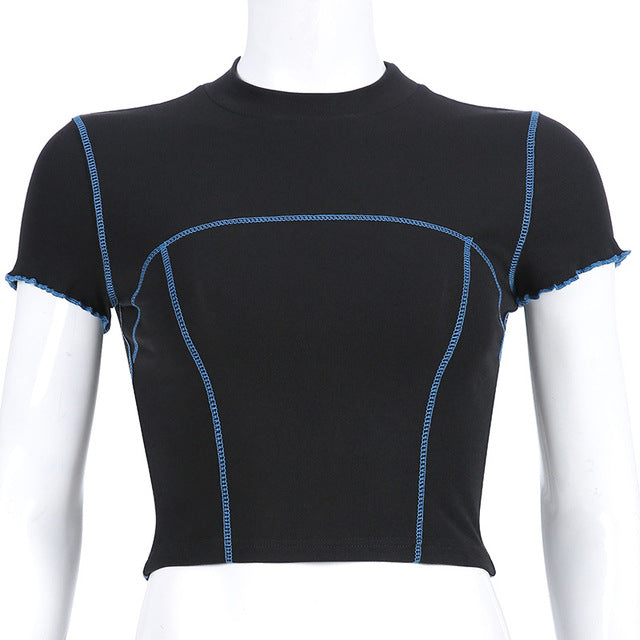 Electric Blue Contrast Trim Crop Top