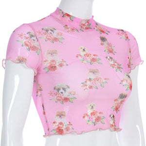 Flowers & Dogs Graphic Mesh Crop Top