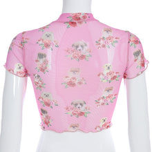 Load image into Gallery viewer, Flowers & Dogs Graphic Mesh Crop Top