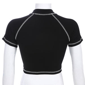 SURE Planet Contrast Trim Crop Top
