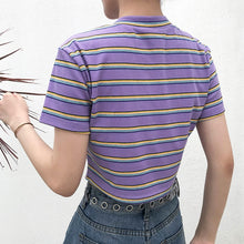 "Load image into Gallery viewer, ""I Am Hotty"" Stripe Crop Top"