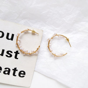 Pearl Wreath Hoop Earrings