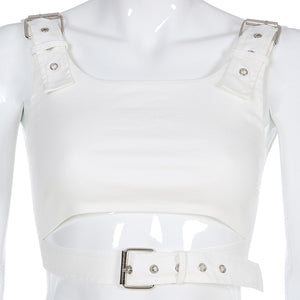 Buckle-Up White Crop Top