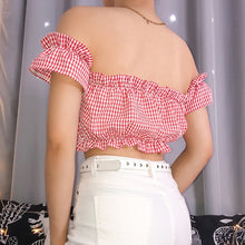 Load image into Gallery viewer, Gingham Off-the-Shoulder Top