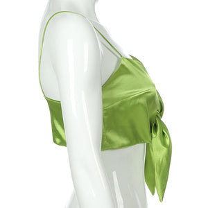 Lime Satin Bow Tie Top