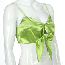 Load image into Gallery viewer, Lime Satin Bow Tie Top