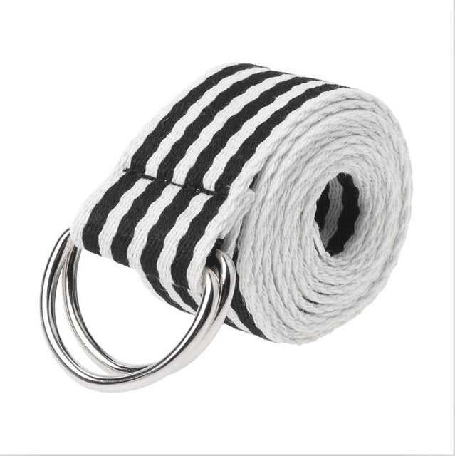Multi-Color Stripe D-Ring Canvas Belt