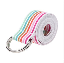 Load image into Gallery viewer, Multi-Color Stripe D-Ring Canvas Belt