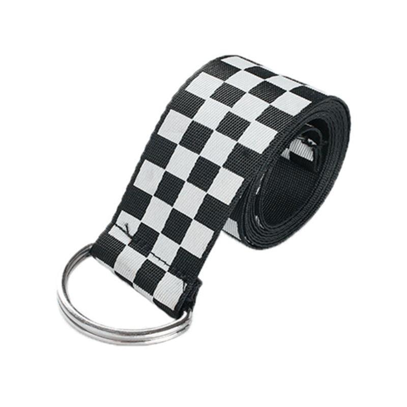 Checkerboard Canvas D-Ring Belt