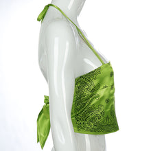 Load image into Gallery viewer, Lime Paisley Halter Top