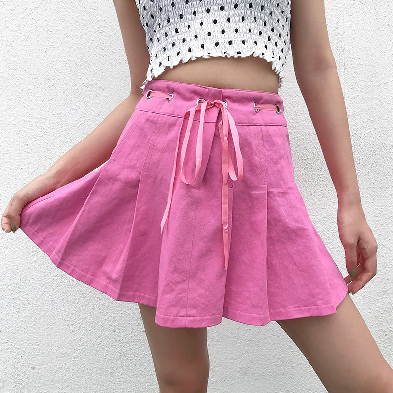 Tie-Front Pink Pleated Skirt