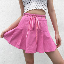 Load image into Gallery viewer, Tie-Front Pink Pleated Skirt