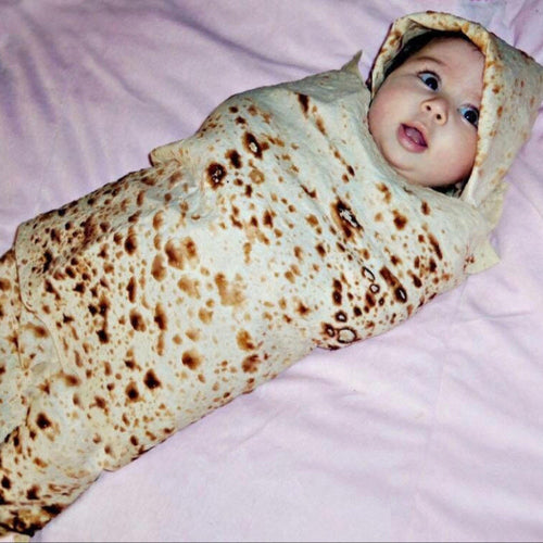 Baby Burrito Flour Tortilla Blanket With A Beanie (2 Piece)