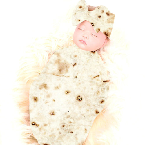 Baby Burrito Flour Tortilla Blanket With A Bow (2 Piece)