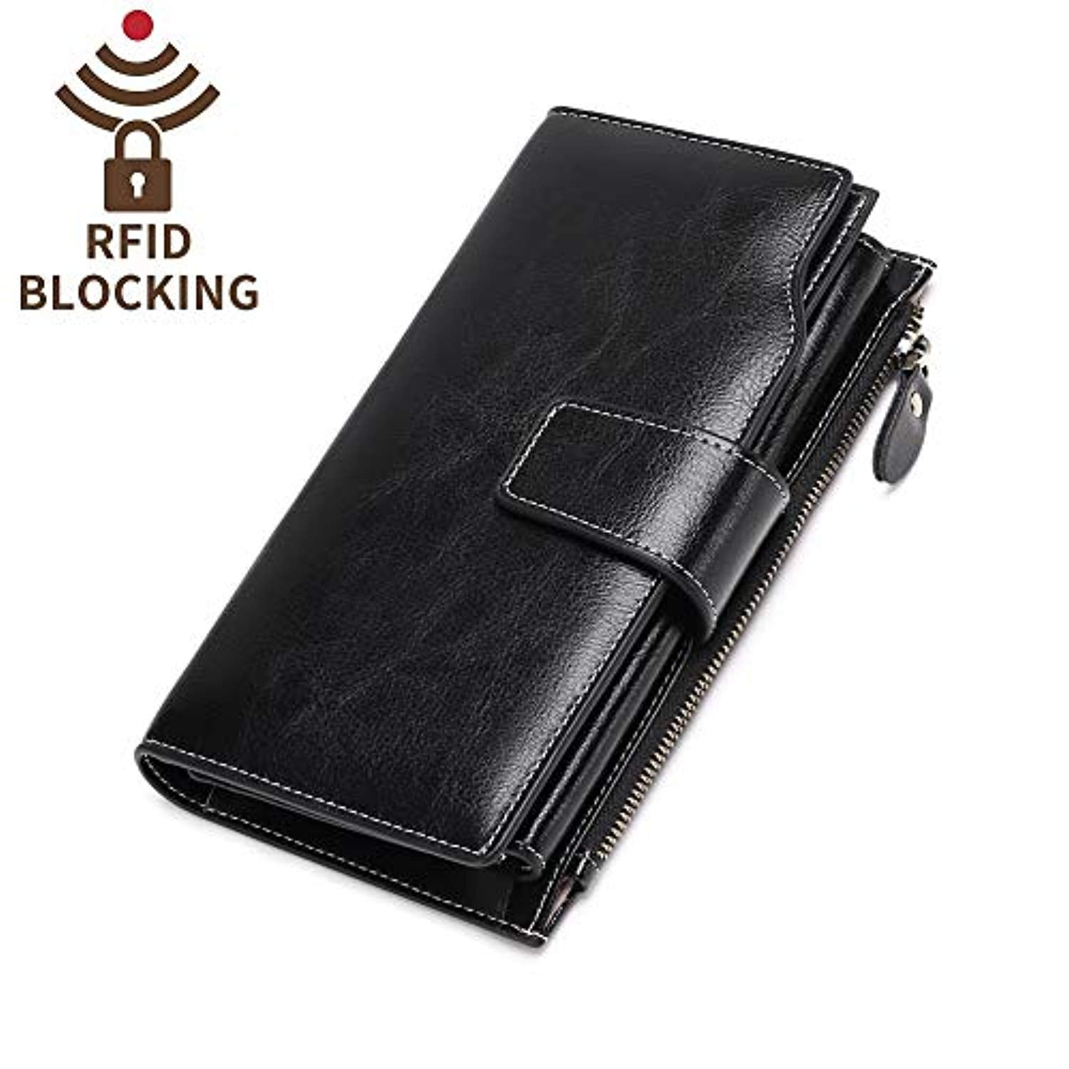41823eb293 Elegant 24 20 cc Slots Womens RFID Wallets Large Capacity Leather Long  Trifold Clutch Purse