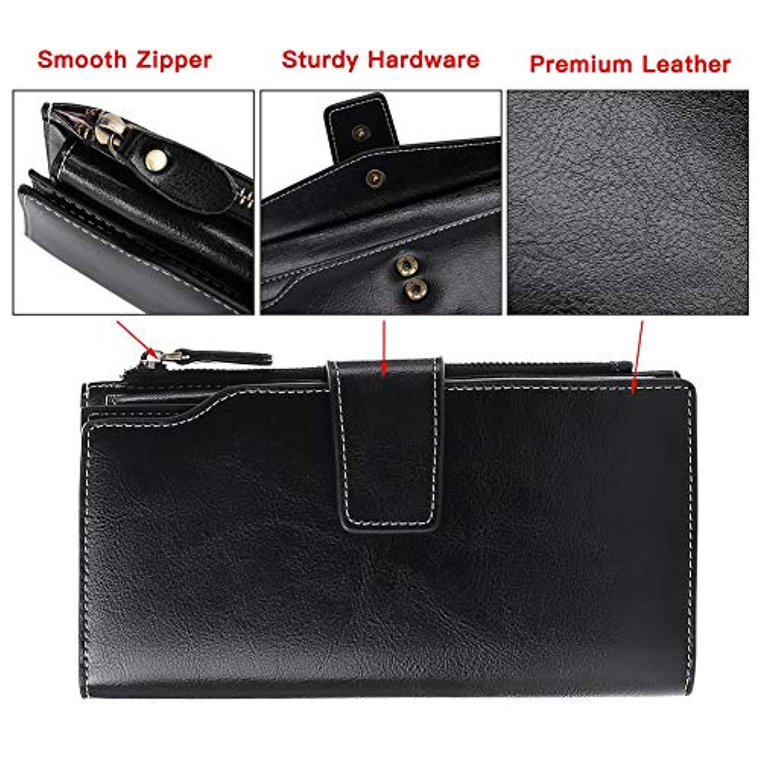 be9c67569912 Elegant 24 20 cc Slots Womens RFID Wallets Large Capacity Leather Long  Trifold Clutch Purse