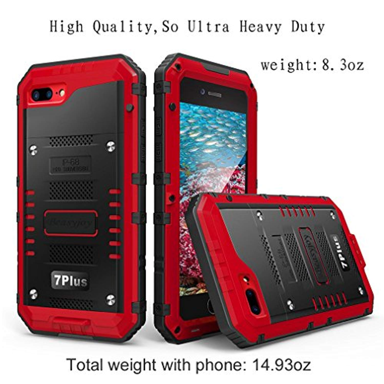 big sale 272d2 f4fc1 Waterproof Case Compatible with iPhone 7 Plus/iPhone 8 Plus, Beasyjoy Heavy  Duty Case Built-in Screen Full Body Protective Shockproof Tough Rugged ...