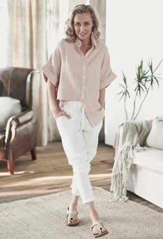 The Linen Lounge Pants - White M/L