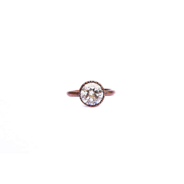 Cubic Zirconia Copper Stacker Ring /1 Ring Only