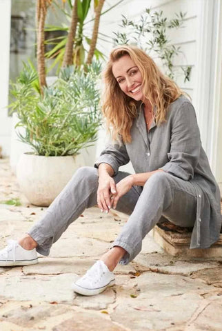The Linen Lounge Pants - Slate M/L