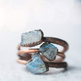 Raw Labradorite Copper Stacker Ring /1 Ring Only