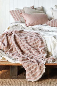 Low Tide Linen Throw - Antique Rose