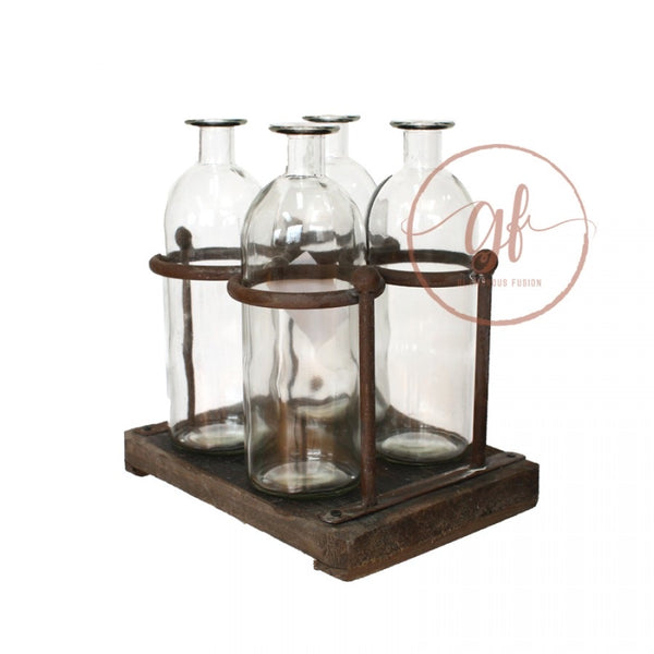 GLASS BOTTLE WITH RACK X 4