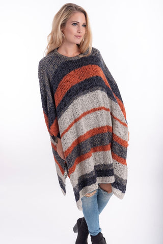 Striped Poncho Rust