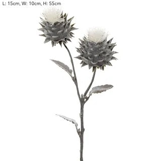 Thistle Spray Flocked -Grey
