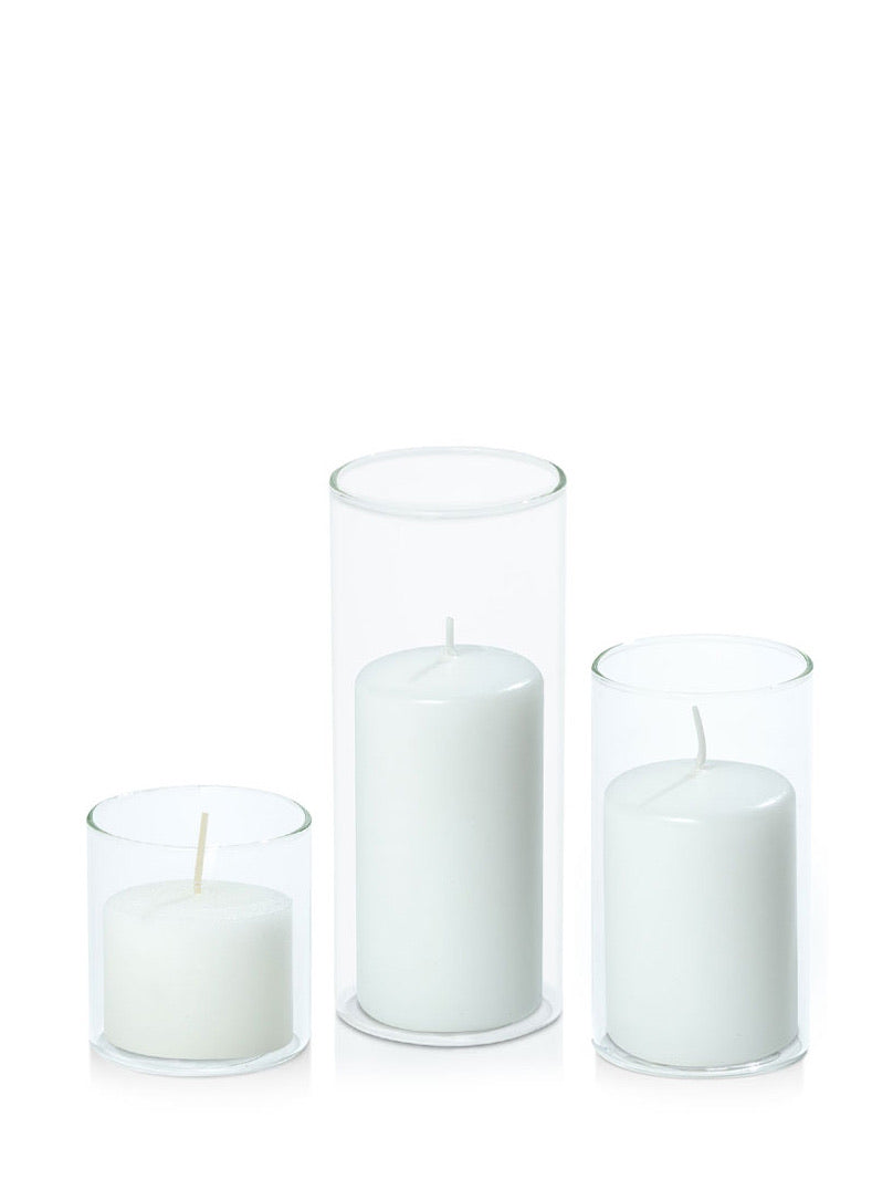 Set 3 Pillar Candles in Cylinders - Stone