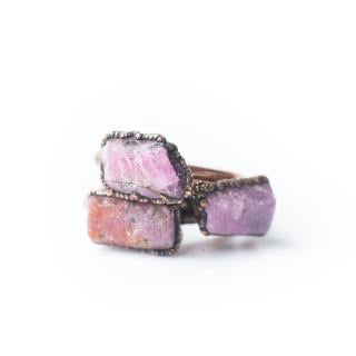 Rough  Ruby Copper Stacker Ring / 1 Ring Only