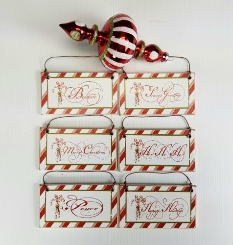 Vintage Style Mini Christmas Signs - 10cm