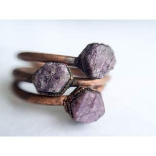 Raw Ruby Copper Stacker Ring /1 Ring Only