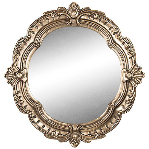 Pressed Metal Mirror- Antique Gold