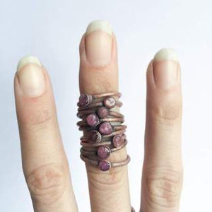 Raw Tourmaline Copper Stacker Ring / 1Ring Only