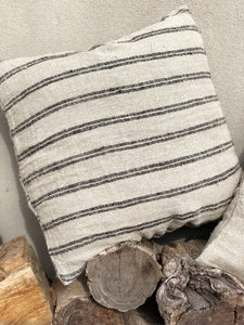 Handloomed/Rustic Linen Cushion Cover with Black Stripes