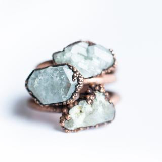 Raw Blue Topaz Copper Stacker Ring/1 Ring Only