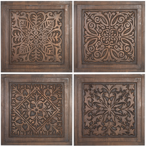 Wooden Carved Wall Decor Set 4 Panels