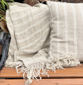 Hand Loomed Linen Throw White Stripe