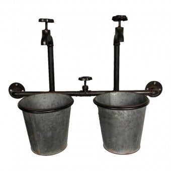 Vintage Buckets & Taps Wall Planter 58x18.5x40cm