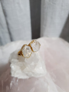 Ring 2 Stone Quartz Adjustable