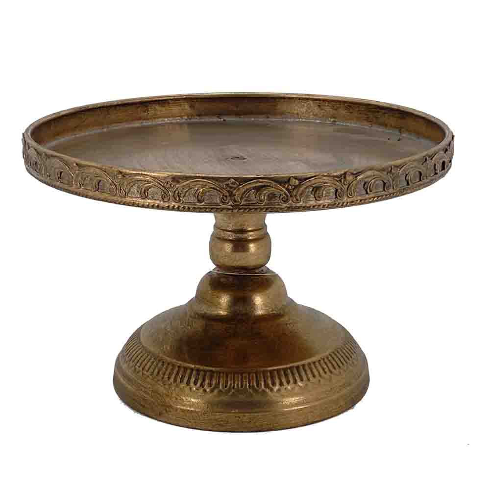 Lg Cake Stand - Antique Gold