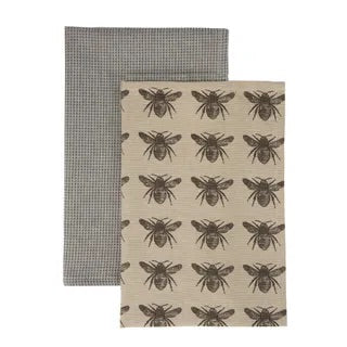 HONEY BEE TEA TOWEL 2 PACK CHARCOAL