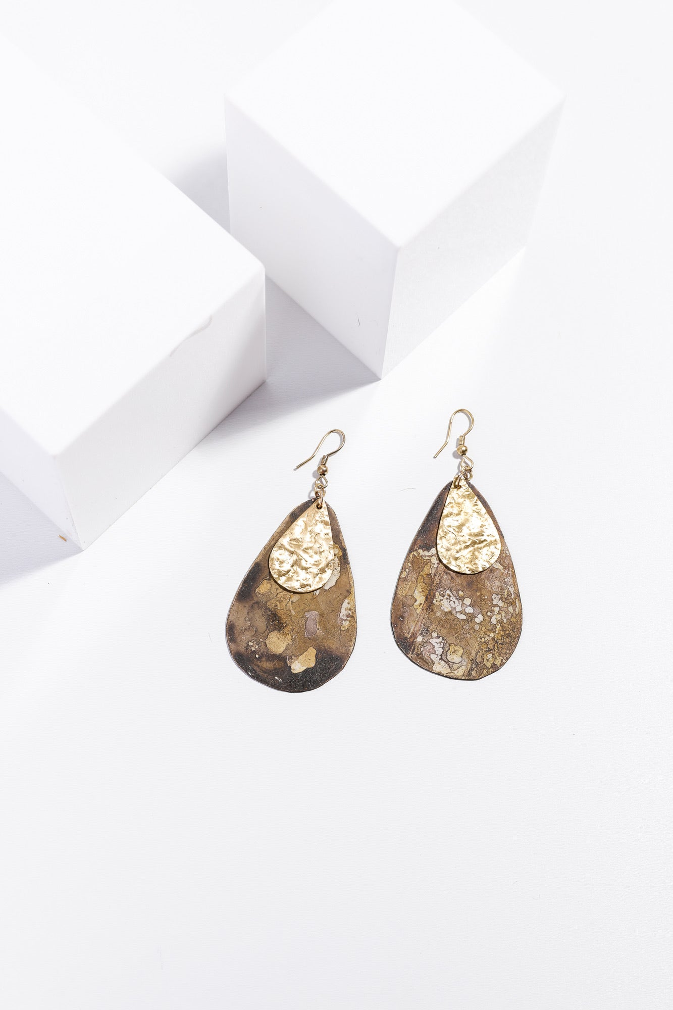 Hart Earrings/ Gold & Brown Patina
