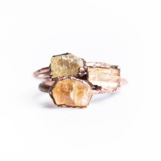 Raw Topaz Copper Stacker Ring / 1 Ring Only