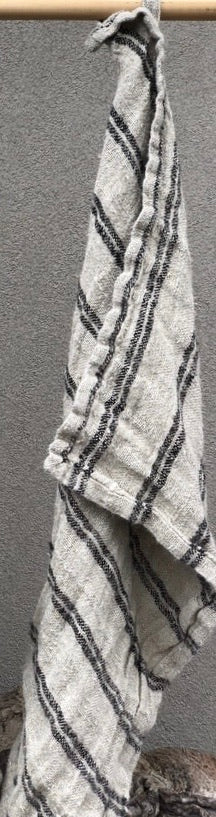 Hand Loomed Linen T Towel - Natural & Black Stripe