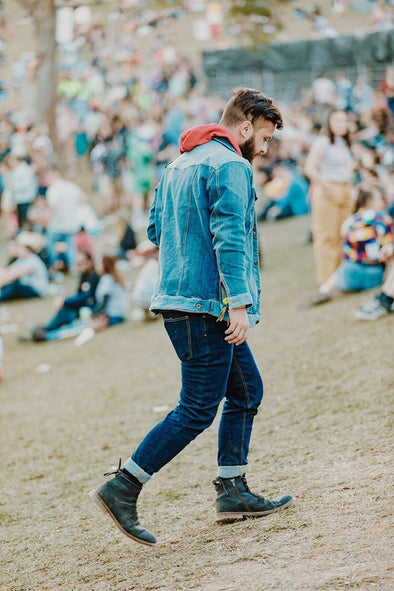 Jamie Azzopardi at Splendour in the grass wearing double denim
