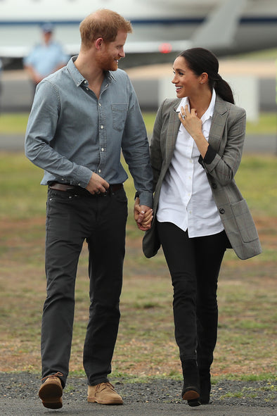 The Duke and Duchess of Sussex in Dubbo Australia. The Duchess wearing Outland Denim