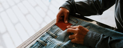 outland denim seamstress checking brand patch
